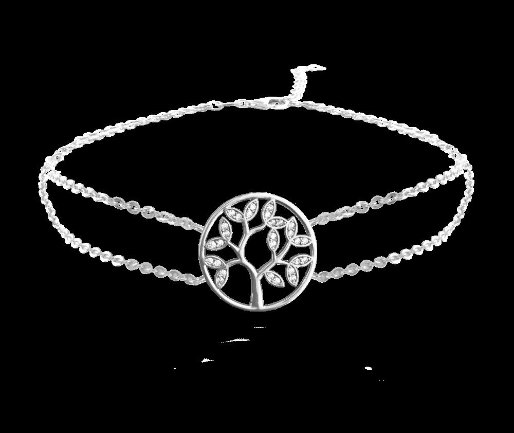 MINET Stříbrný náramek MINET STROM ŽIVOTA s bílými zirkony JMAS5025SB18