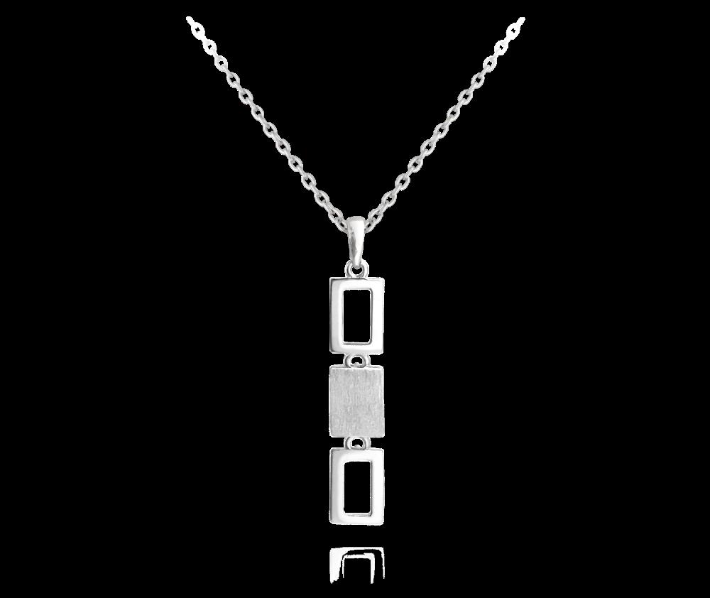MINET Obdélníkový stříbrný náhrdelník MINET JMAS0037SN45