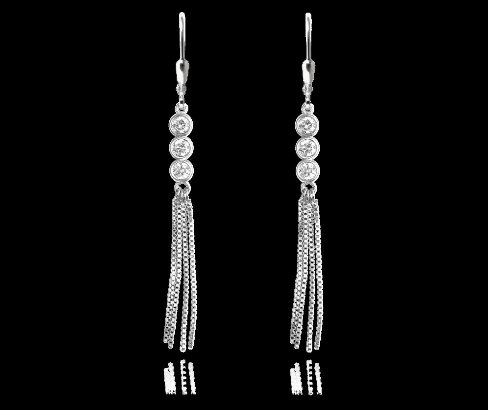 MINET Řetízkové stříbrné visací náušnice MINET s bílými zirkony JMAS0043SE00