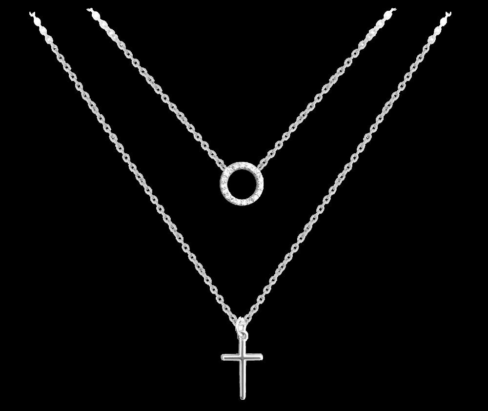 Dvojitý stříbrný náhrdelník MINET KŘÍZEK s bílými zirkony