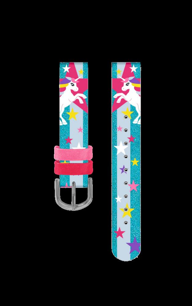 Tyrkysový řemínek s jednorožci k dětským hodinkám CLOCKODILE