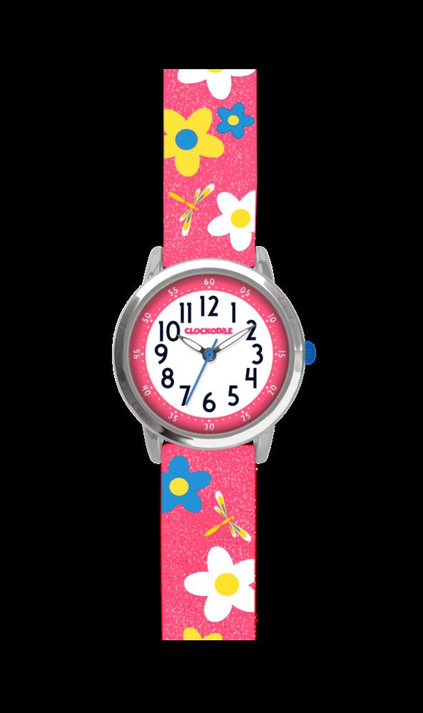 Květované růžové dívčí dětské hodinky CLOCKODILE FLOWERS se třpytkami