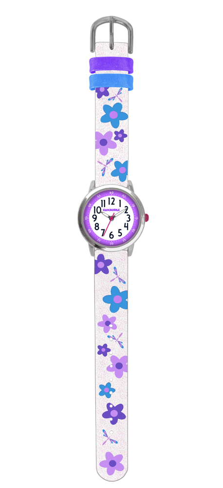 Květované bílo-fialové dívčí dětské hodinky CLOCKODILE FLOWERS se třpytkami