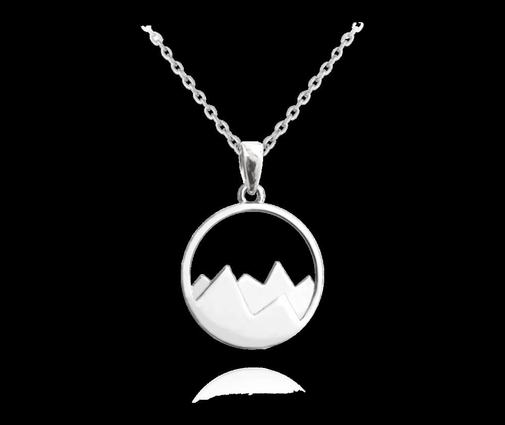 MINET Cestovatelský stříbrný náhrdelník MINET HORY JMAN0122SN45