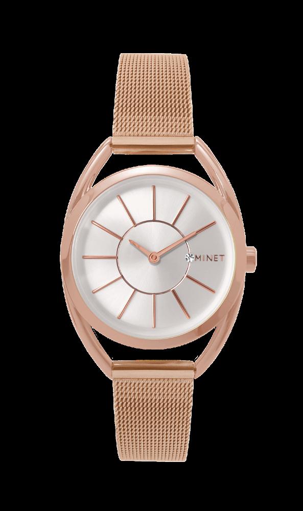 Růžové dámské hodinky MINET ICON ROSE GOLD MESH