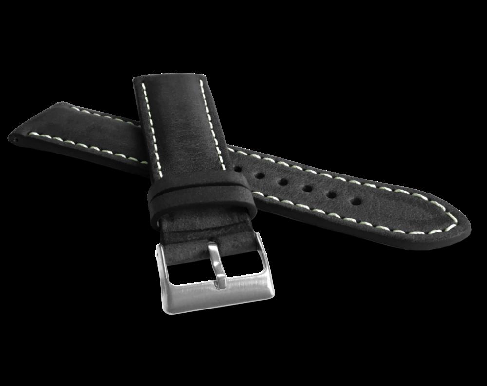 LAVVU Přírodně barvený černý řemínek LAVVU NATURE z kůže Top Grain - 18 LSRUB18