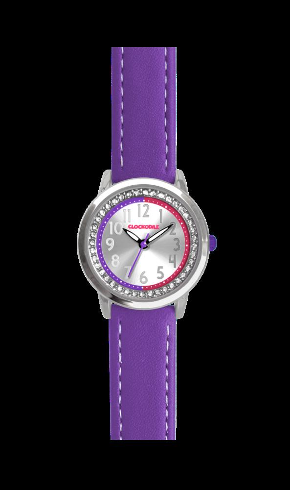 Fialové třpytivé dívčí dětské hodinky se kamínky CLOCKODILE SPARKLE