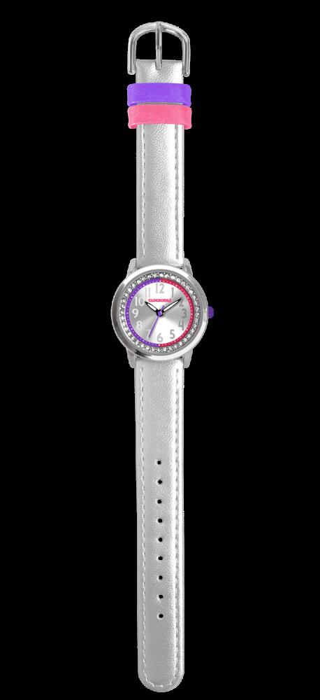 Stříbrné třpytivé dívčí dětské hodinky se kamínky CLOCKODILE SPARKLE