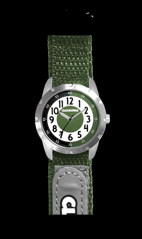Zelené reflexní dětské hodinky na suchý zip CLOCKODILE REFLEX