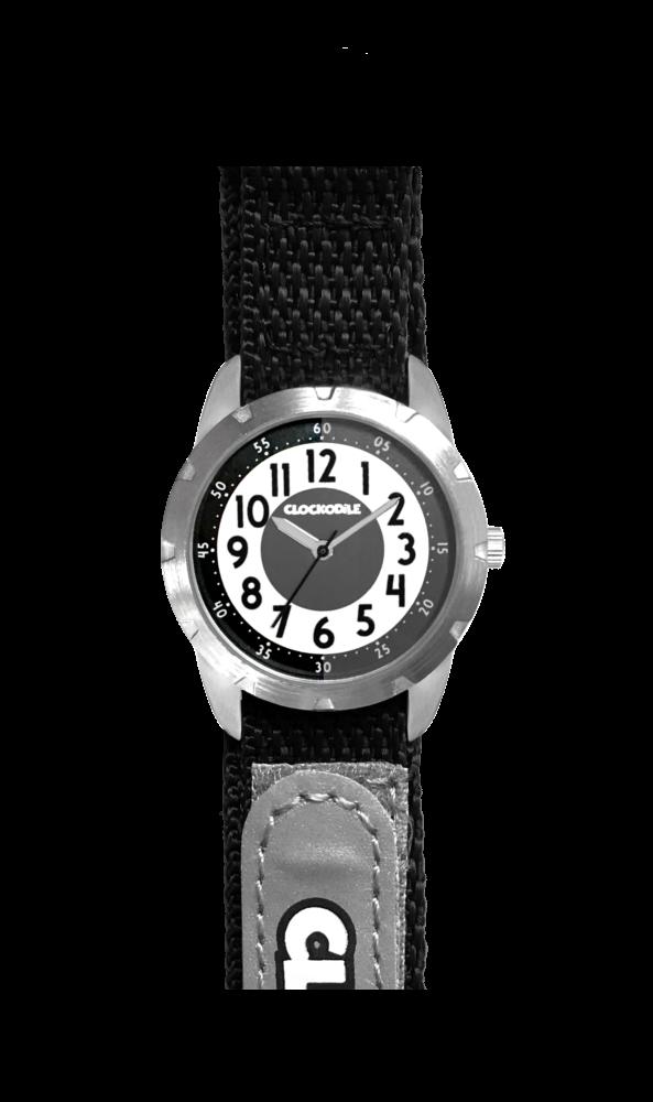Černé reflexní dětské hodinky na suchý zip CLOCKODILE REFLEX