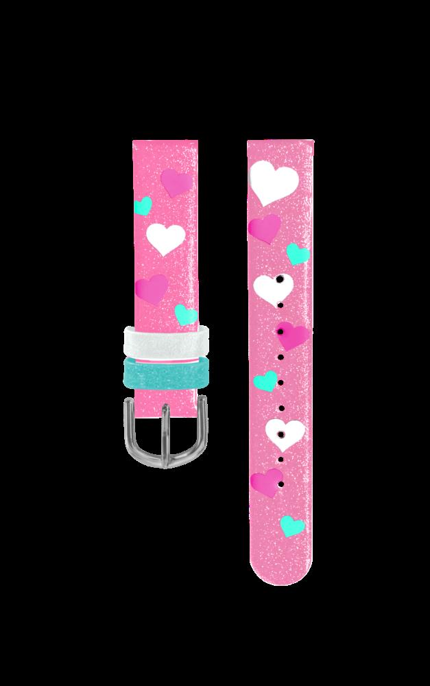 Růžový řemínek se srdíčky k dětským hodinkám CLOCKODILE