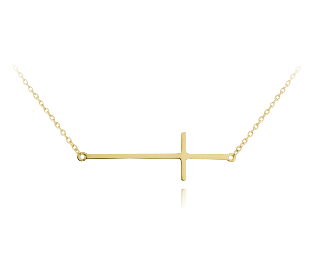 MINET Pozlacený stříbrný náhrdelník MINET KŘÍŽ ležatý JMAS0062GN45