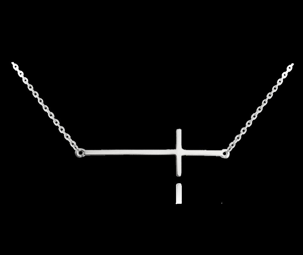 MINET  Stříbrný náhrdelník MINET KŘÍŽ ležatý JMAS0062SN45