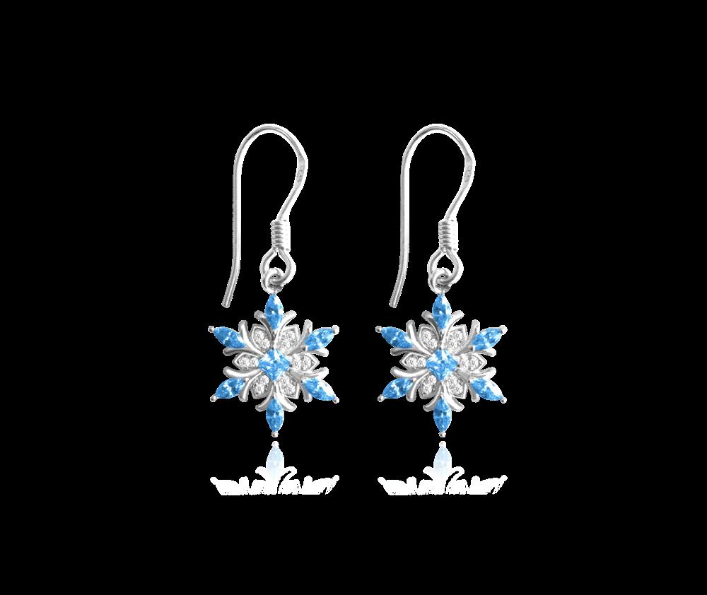 Stříbrné náušnice MINET -- SNĚHOVÉ VLOČKY s modrými zirkony
