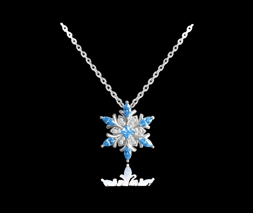 Stříbrný náhrdelník MINET SNĚHOVÁ VLOČKA s modrými zirkony
