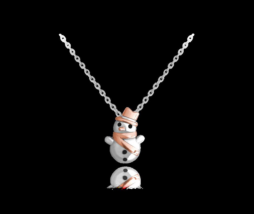 MINET Zimní stříbrný náhrdelník MINET SNĚHULÁK se zirkony JMAS8015SN45