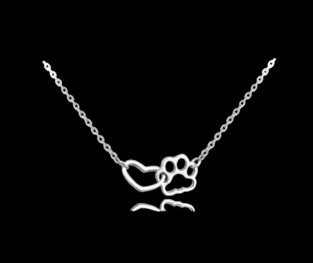 MINET Stříbrný náhrdelník MINET TLAPKA se srdíčkem JMAN0137SN42