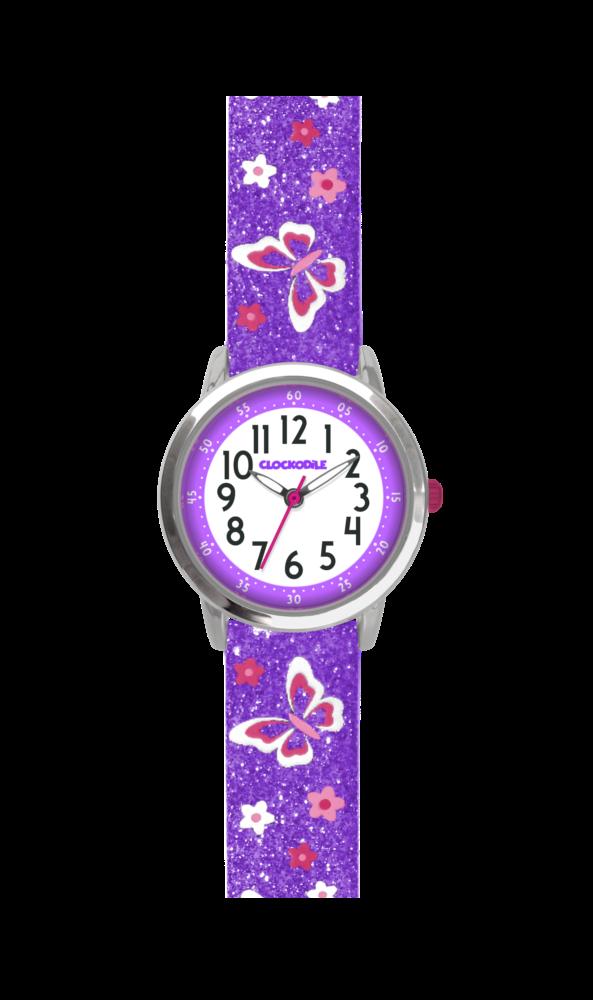 Motýlí fialové dívčí dětské hodinky CLOCKODILE BUTTERFLIES se třpytkami