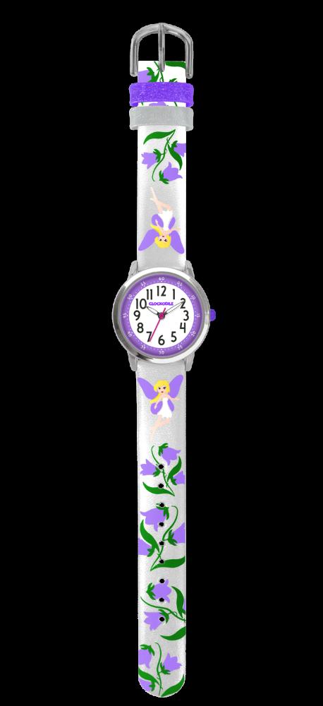 Stříbrné třpytivé dívčí dětské hodinky s fialovými vílami CLOCKODILE FAIRIES