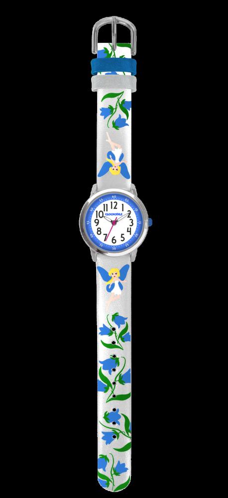 Stříbrné třpytivé dívčí dětské hodinky s modrými vílami CLOCKODILE FAIRIES