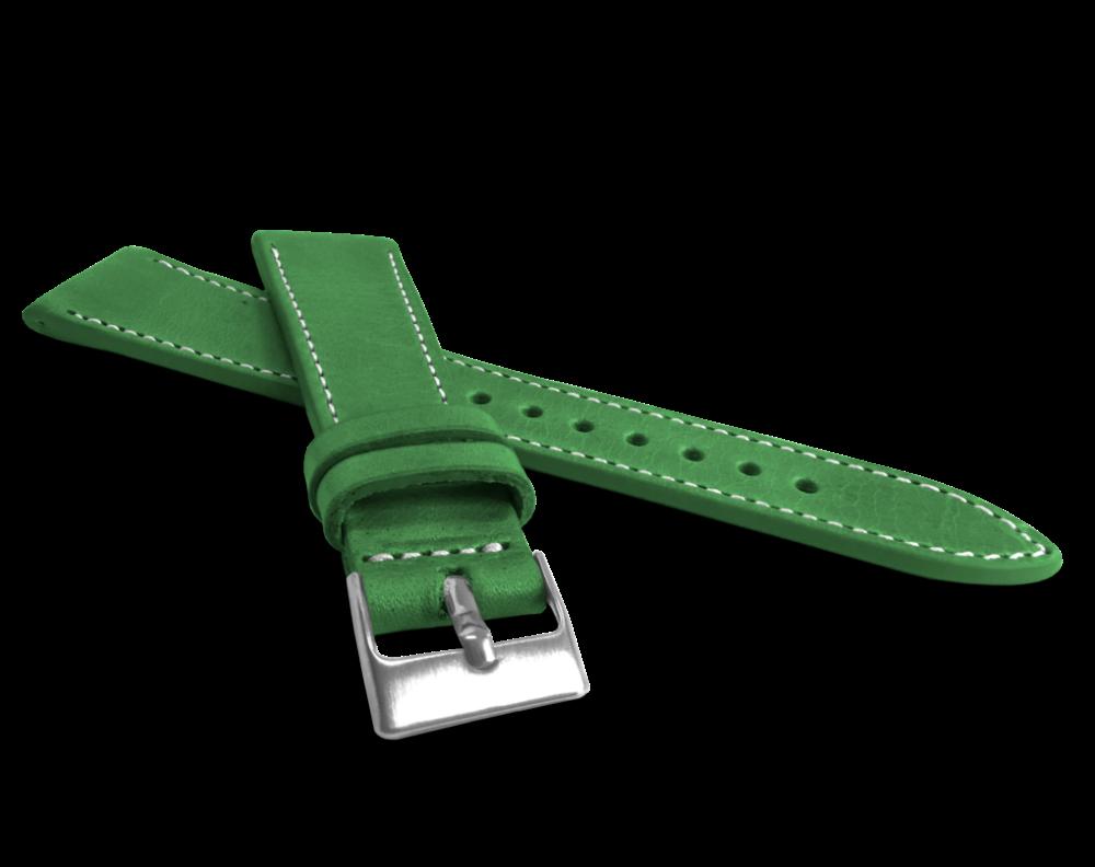 Přírodně barvený zelený řemínek LAVVU NATURE z kůže Top Grain - 22