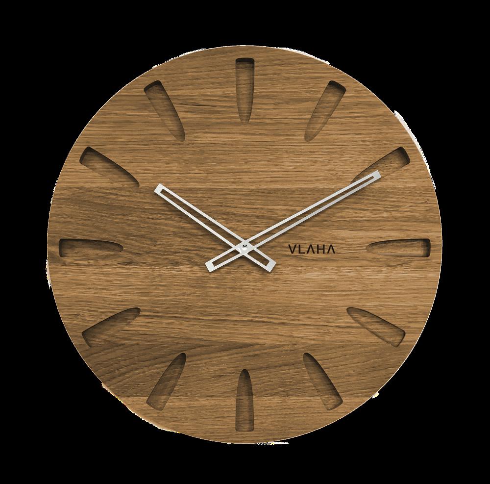 VLAHA Velké dubové hodiny VLAHA GRAND vyrobené v Čechách se stříbrnými ručkami