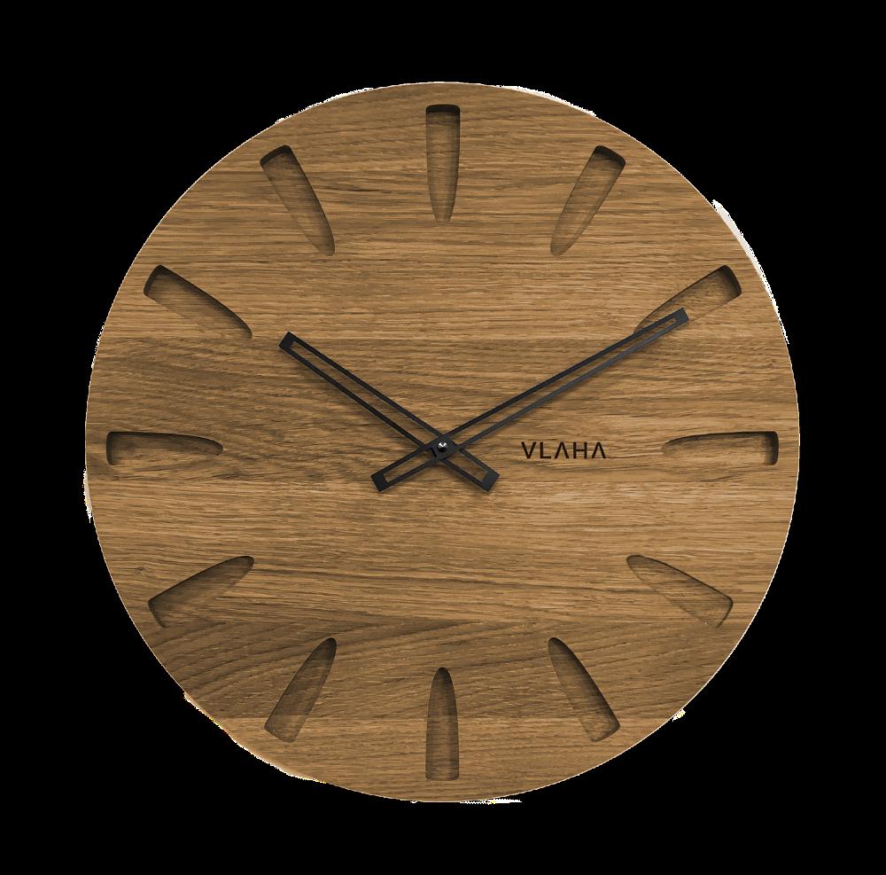 LAVVU Velké dubové hodiny VLAHA GRAND vyrobené v Čechách s černými ručkami VCT1022