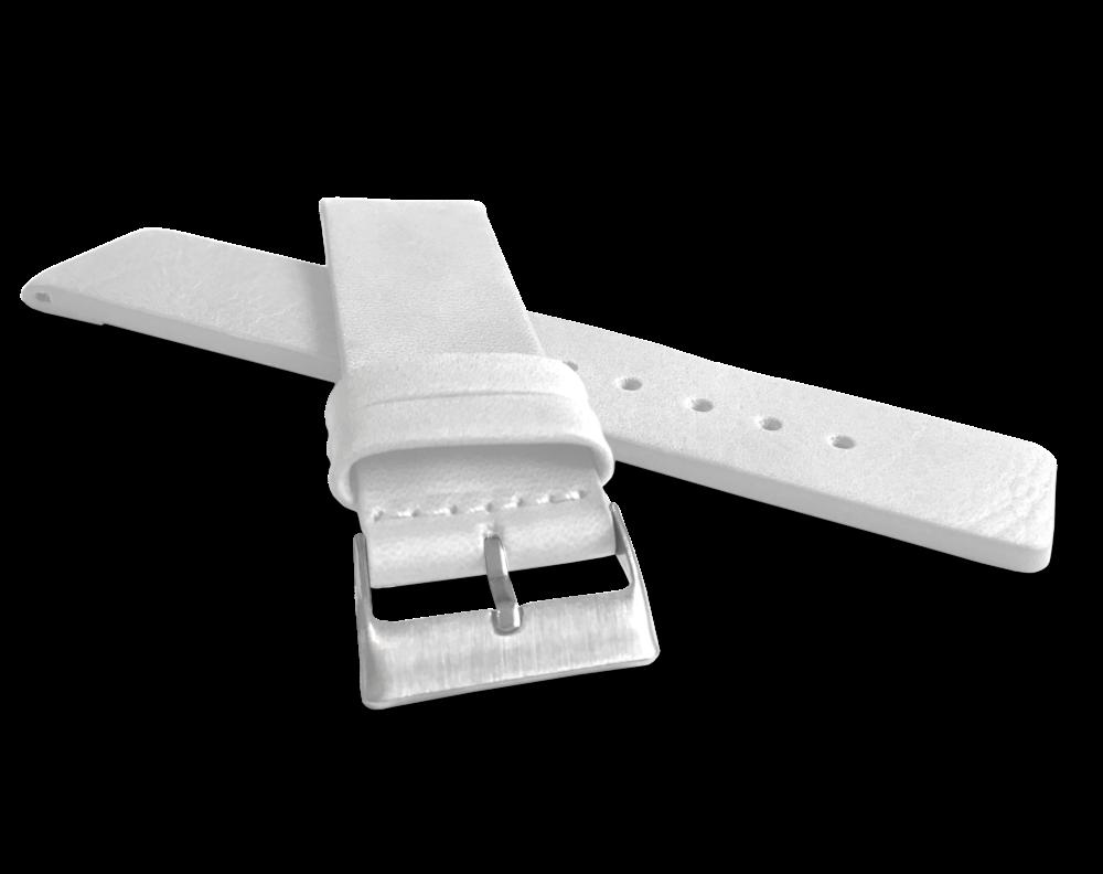 LAVVU Bílý hladký řemínek LAVVU PLAIN z luxusní kůže Top Grain - 24 LSCUW24