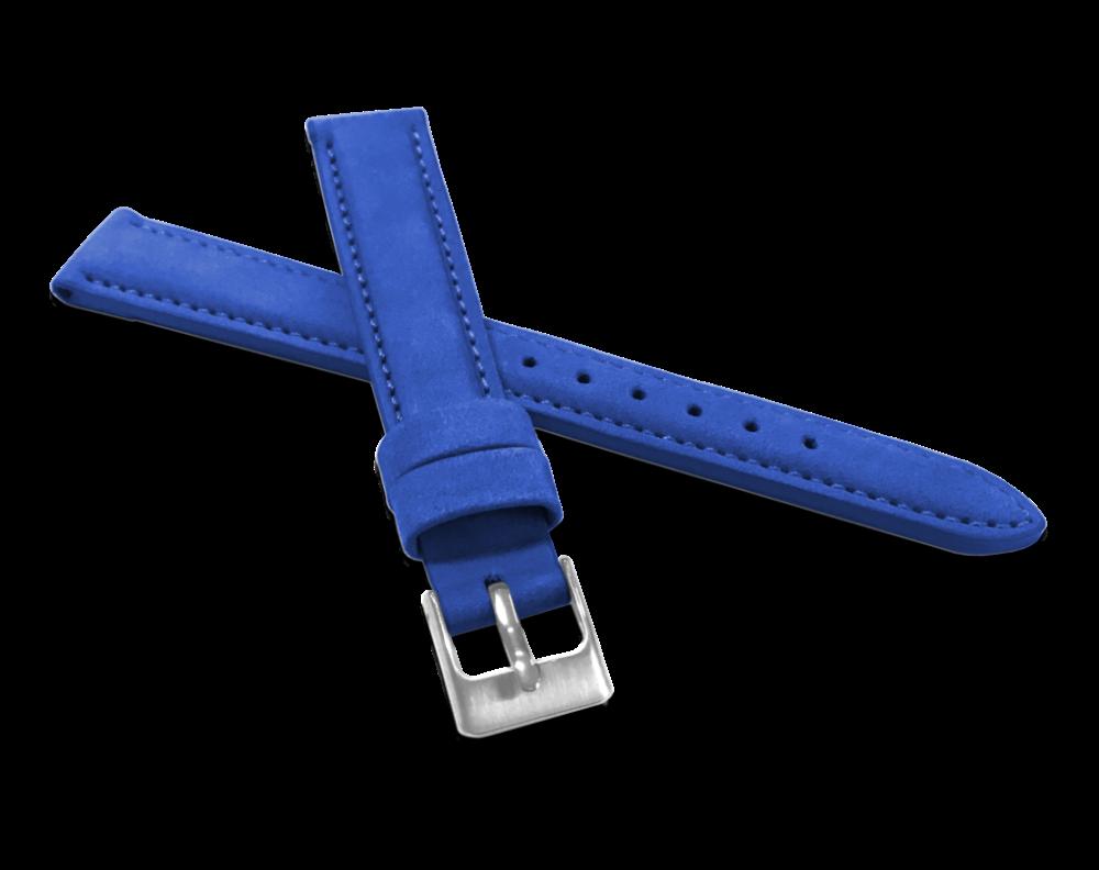 Modrý prošitý kožený řemínek MINET z jemného nubuku - 14