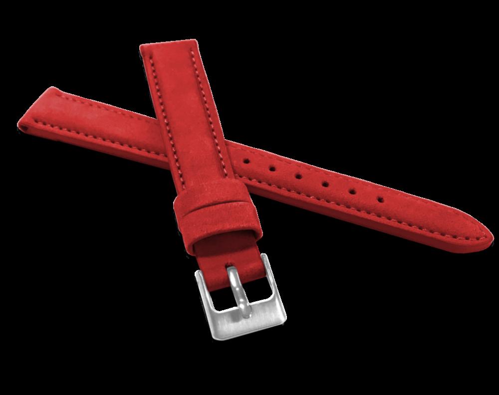 Červený prošitý kožený řemínek MINET z jemného nubuku - 16