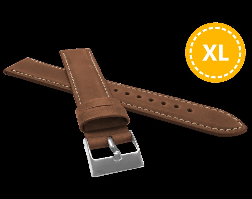LAVVU XL Prodloužený polstrovaný hnědý prošitý řemínek LAVVU SPORT z luxusní kůže Top Grain - 24 LSBXE24
