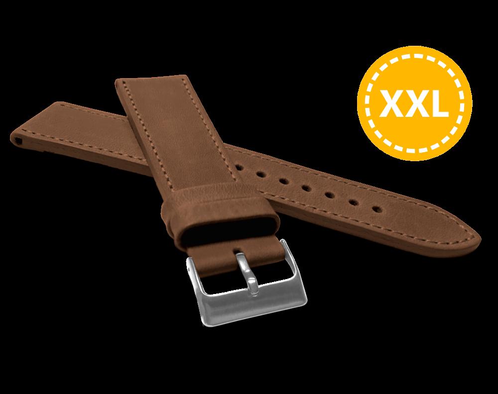 XXL Prodloužený prošitý hnědý řemínek LAVVU SPORT z luxusní kůže Top Grain - 22 XXL