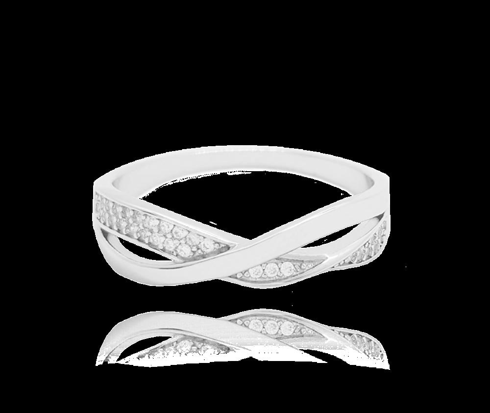Překřížený stříbrný prsten MINET s bílými zirkony vel. 54