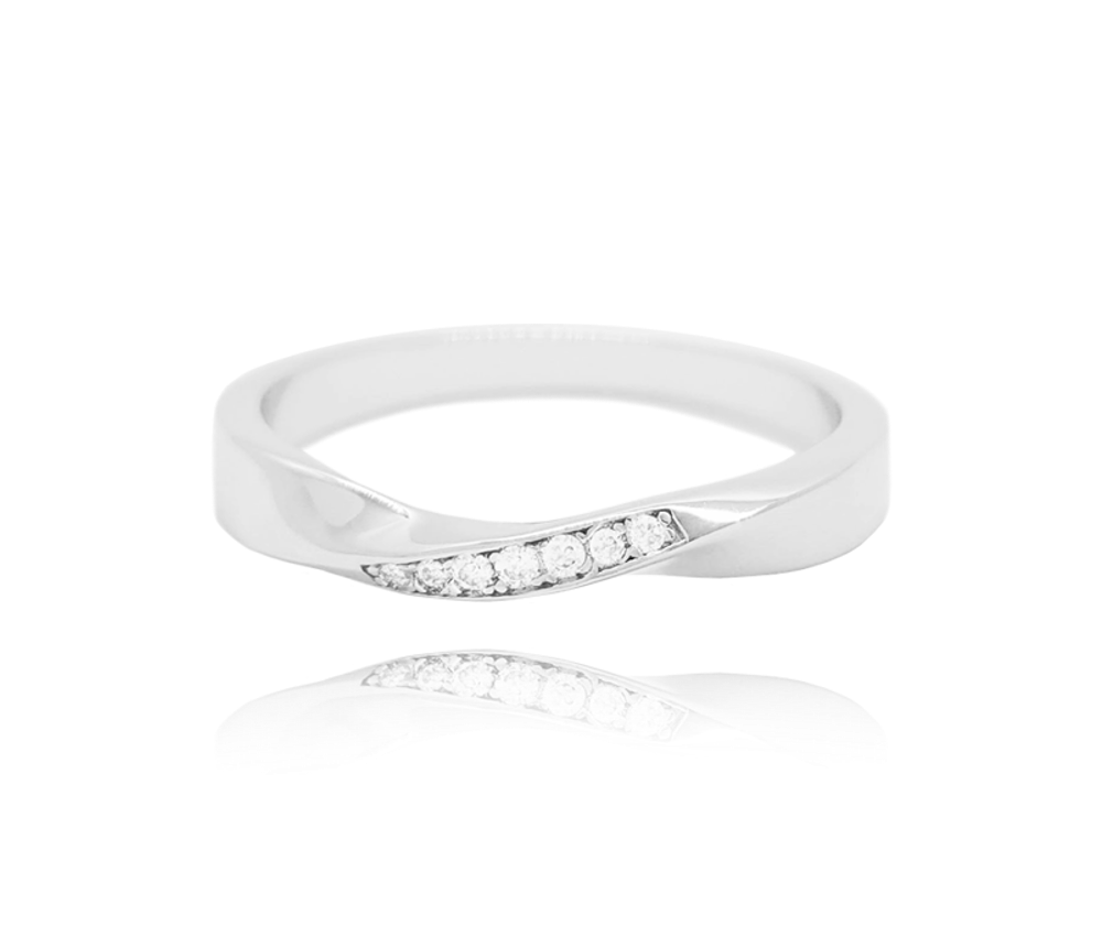 MINET Kroucený stříbrný prsten MINET s bílými zirkony vel. 59 JMAN0145SR59