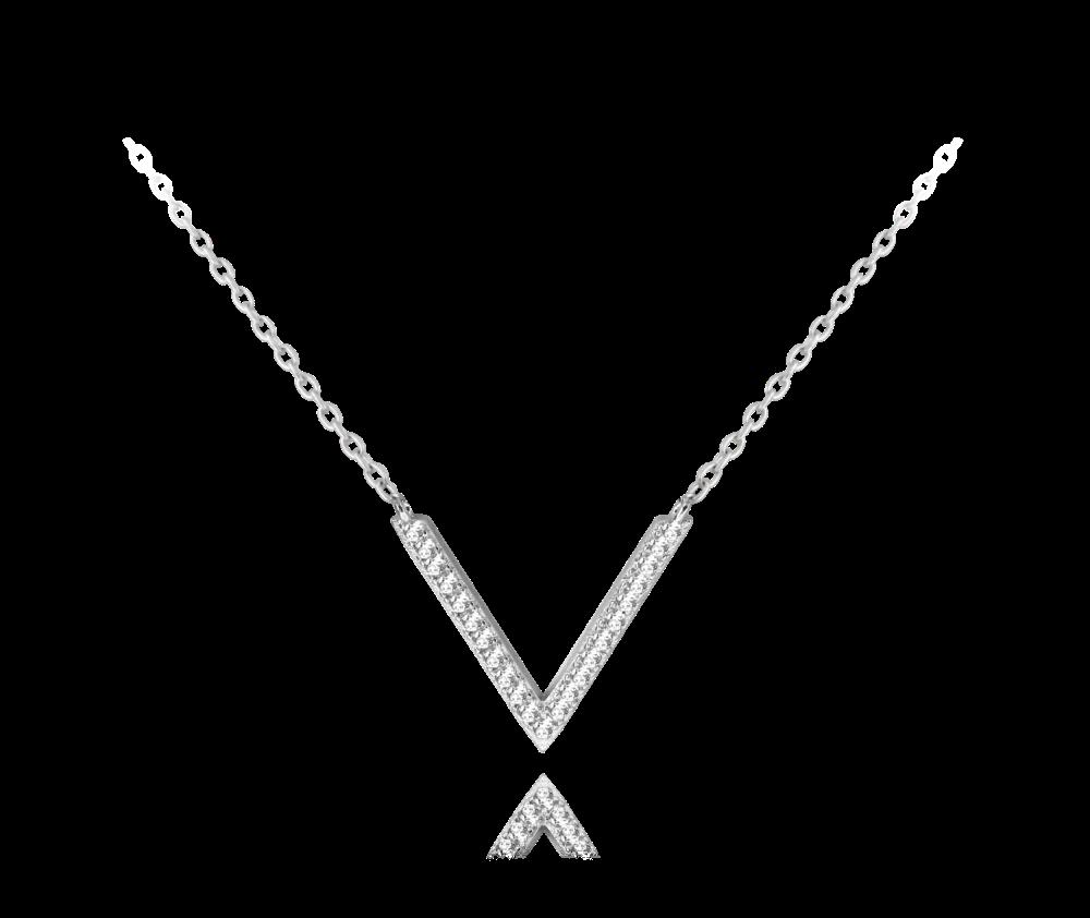 """MINET Stylový stříbrný náhrdelník MINET """"V"""" s bílými zirkony JMAN0142SN45"""