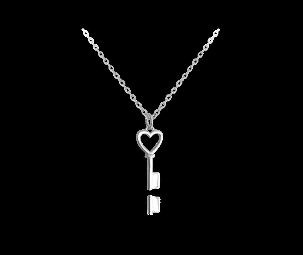 MINET Stříbrný náhrdelník MINET KLÍČEK se srdíčkem JMAN0150SN45