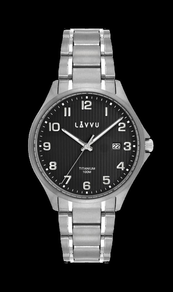 Extrémně lehké titanové hodinky LAVVU TITANIUM LILLEHAMMER Black
