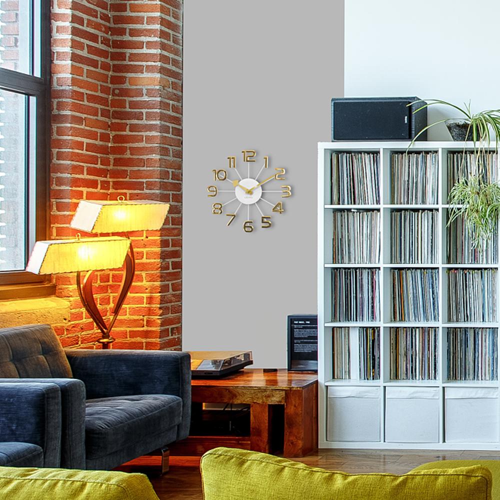 Zlato-bílé moderní hodiny LAVVU DESIGN Numerals