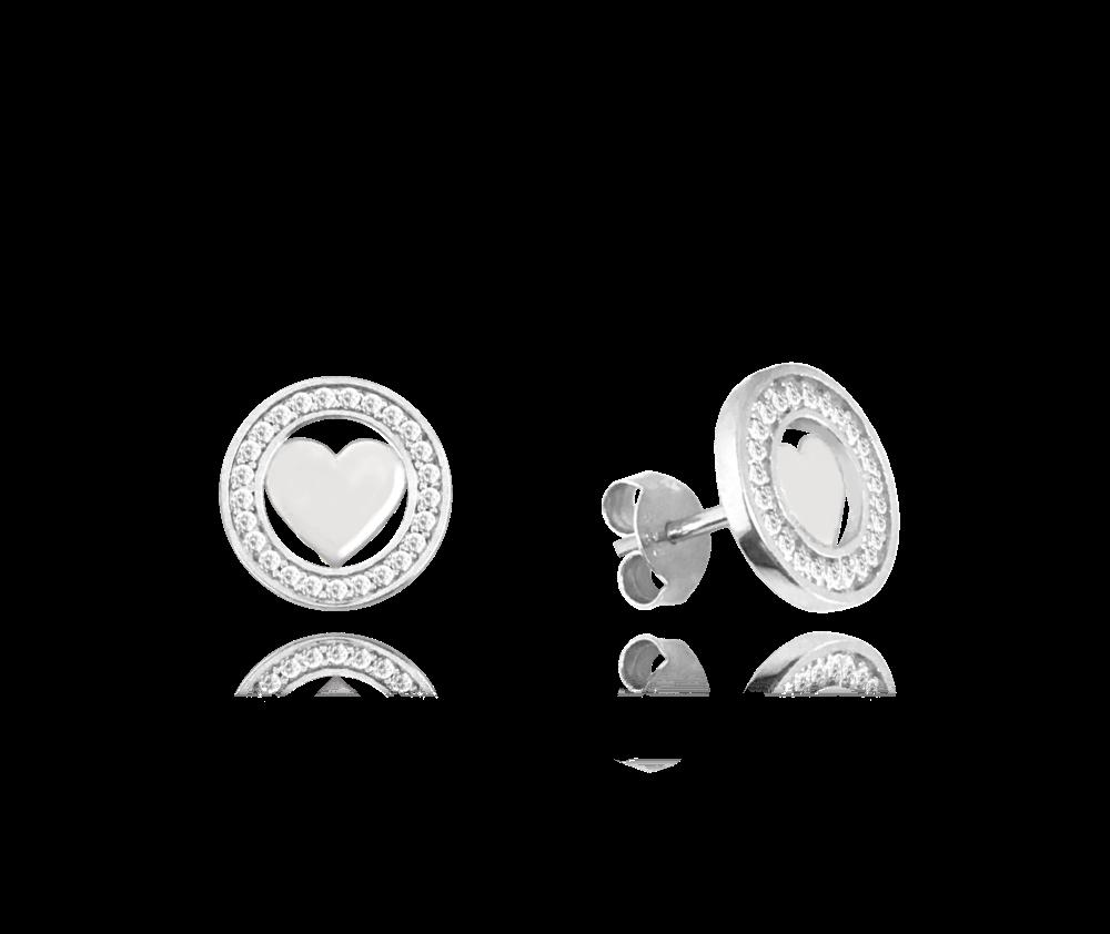 MINET Stříbrné náušnice se srdíčky MINET LOVE s bílými zirkony JMAS0080SE00