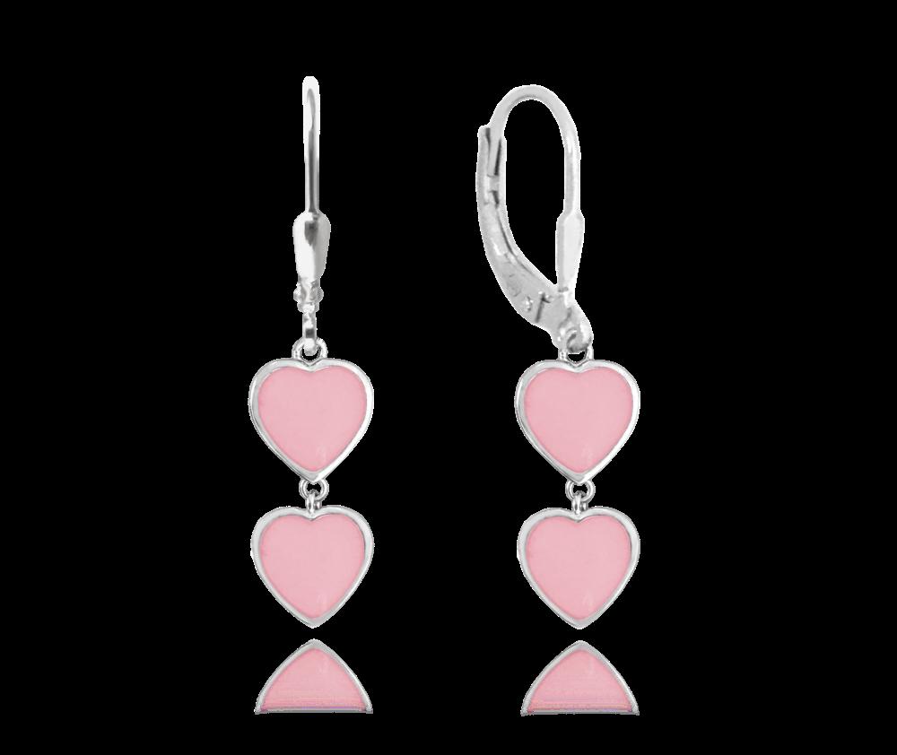 Svítící růžové stříbrné náušnice se srdíčky MINET LOVE