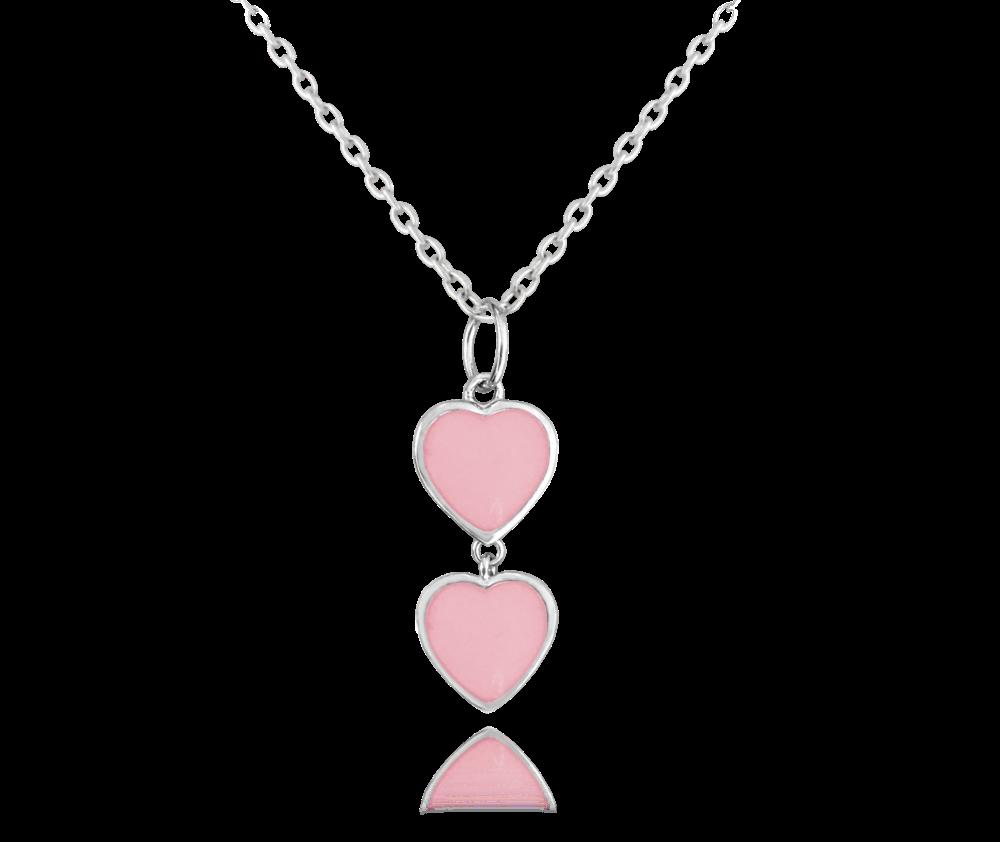 Svítící růžový stříbrný náhrdelník se srdíčky MINET LOVE