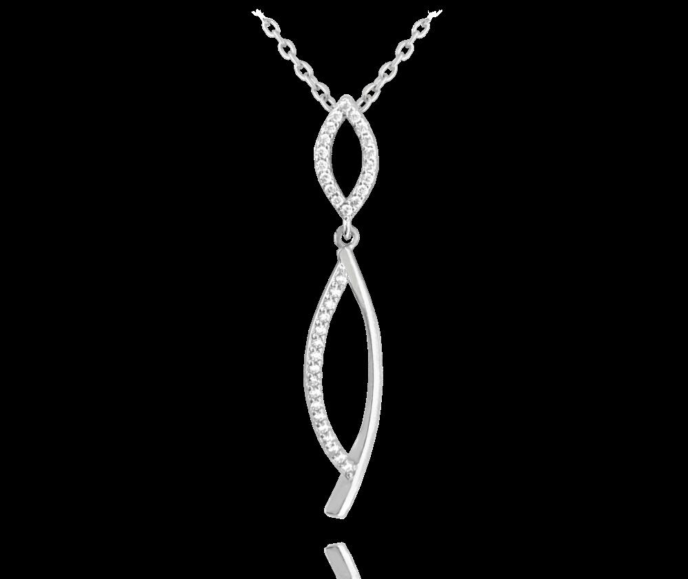 Luxusní stříbrný náhrdelník MINET s bílými zirkony