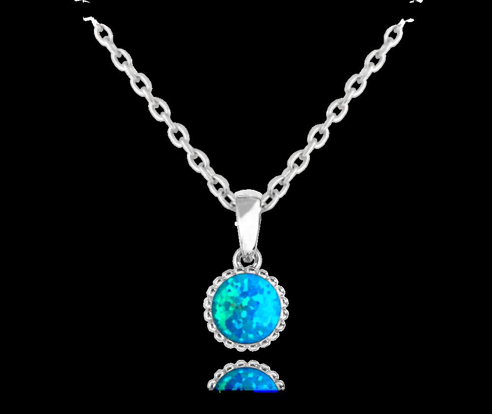 MINET Stříbrný náhrdelník MINET s tyrkysovým opálkem JMAS0072TN45