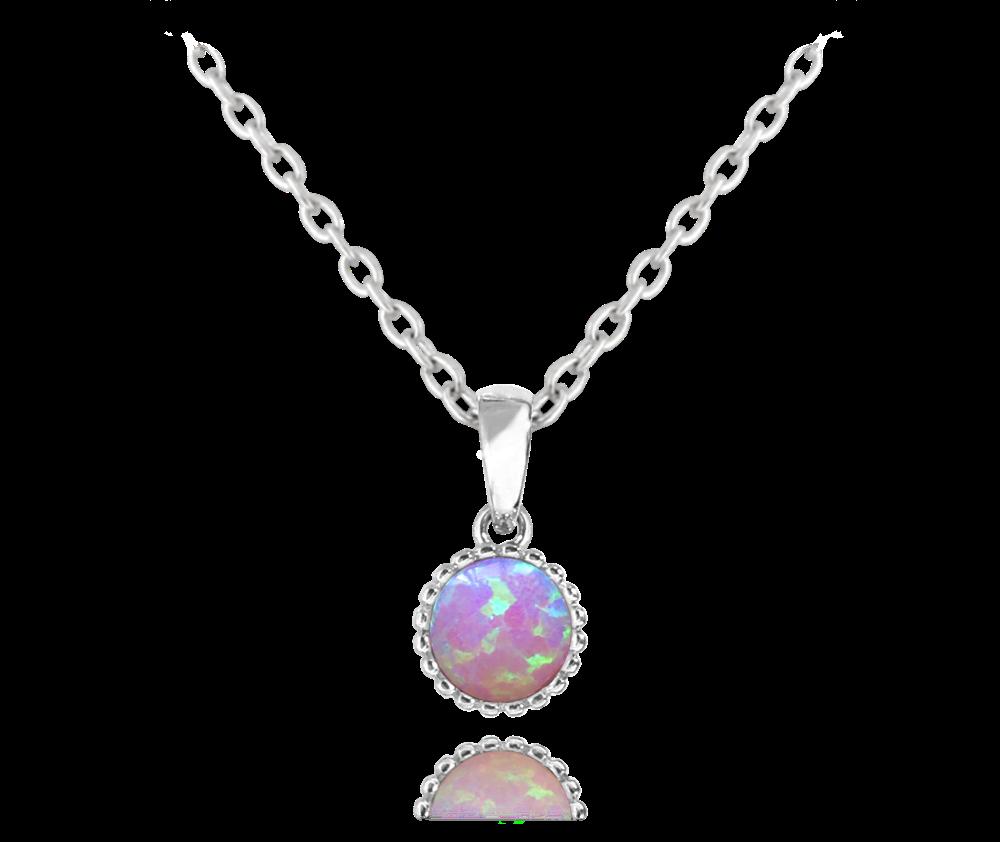 MINET Stříbrný náhrdelník MINET s růžovým opálkem JMAS0072PN45
