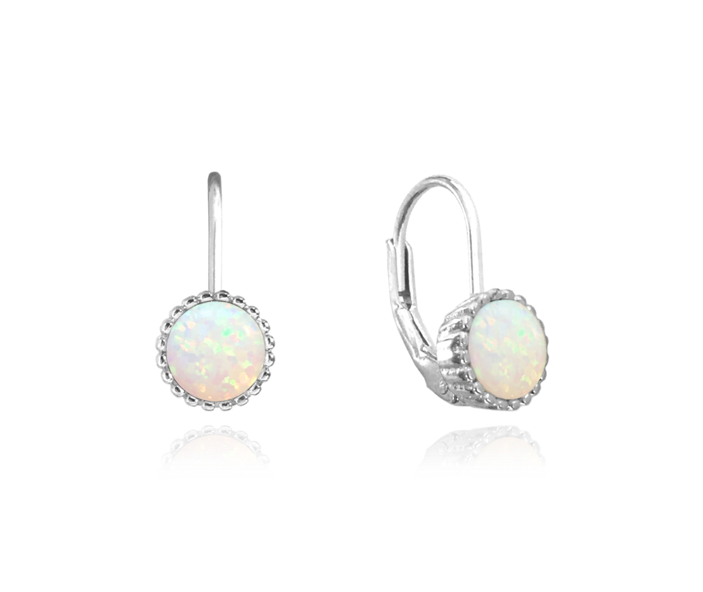 MINET Stříbrné náušnice MINET s bílými opálky JMAS0072WE00