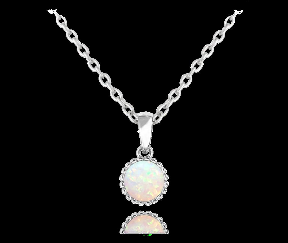 MINET Stříbrný náhrdelník MINET s bílým opálkem JMAS0072WN45