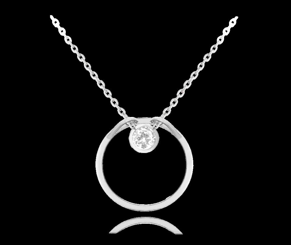Stříbrný náhrdelník MINET KROUŽEK s bílým zirkonem