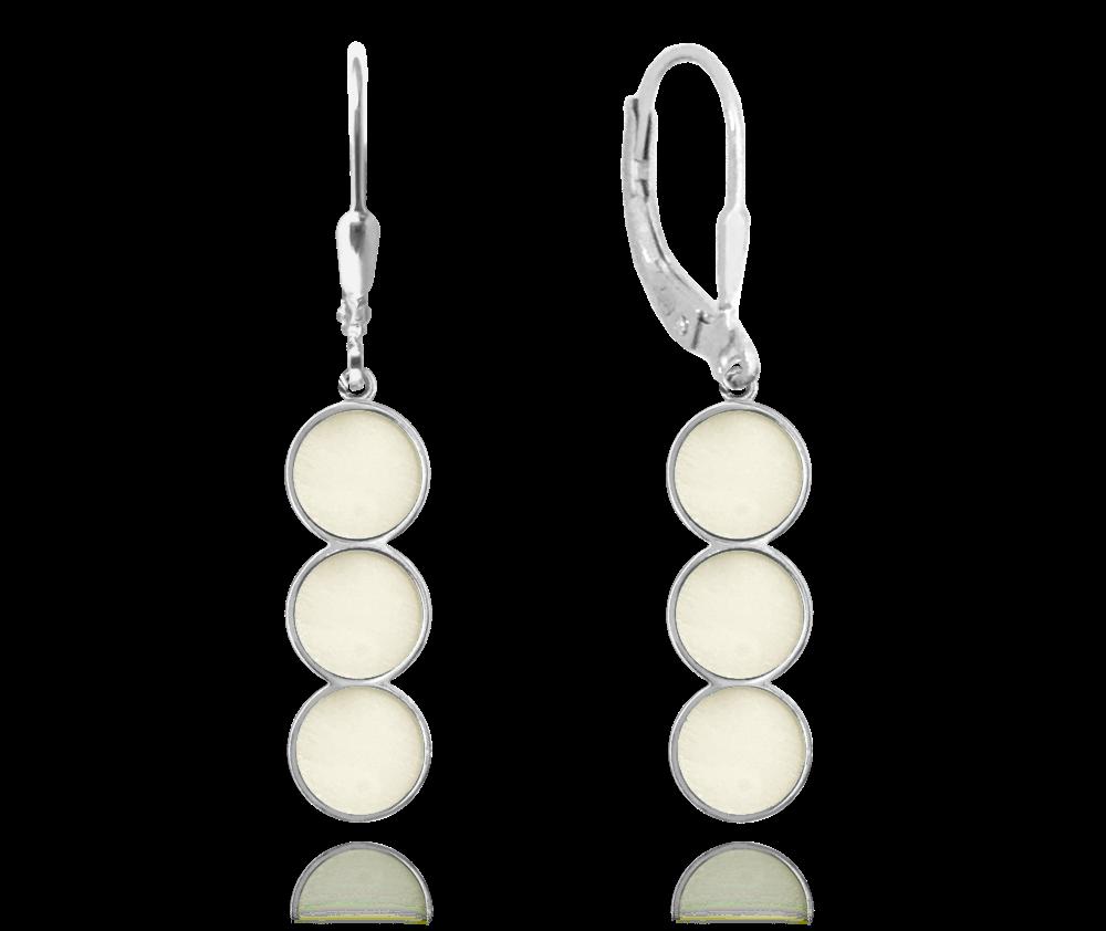 Svítící bílé stříbrné náušnice MINET