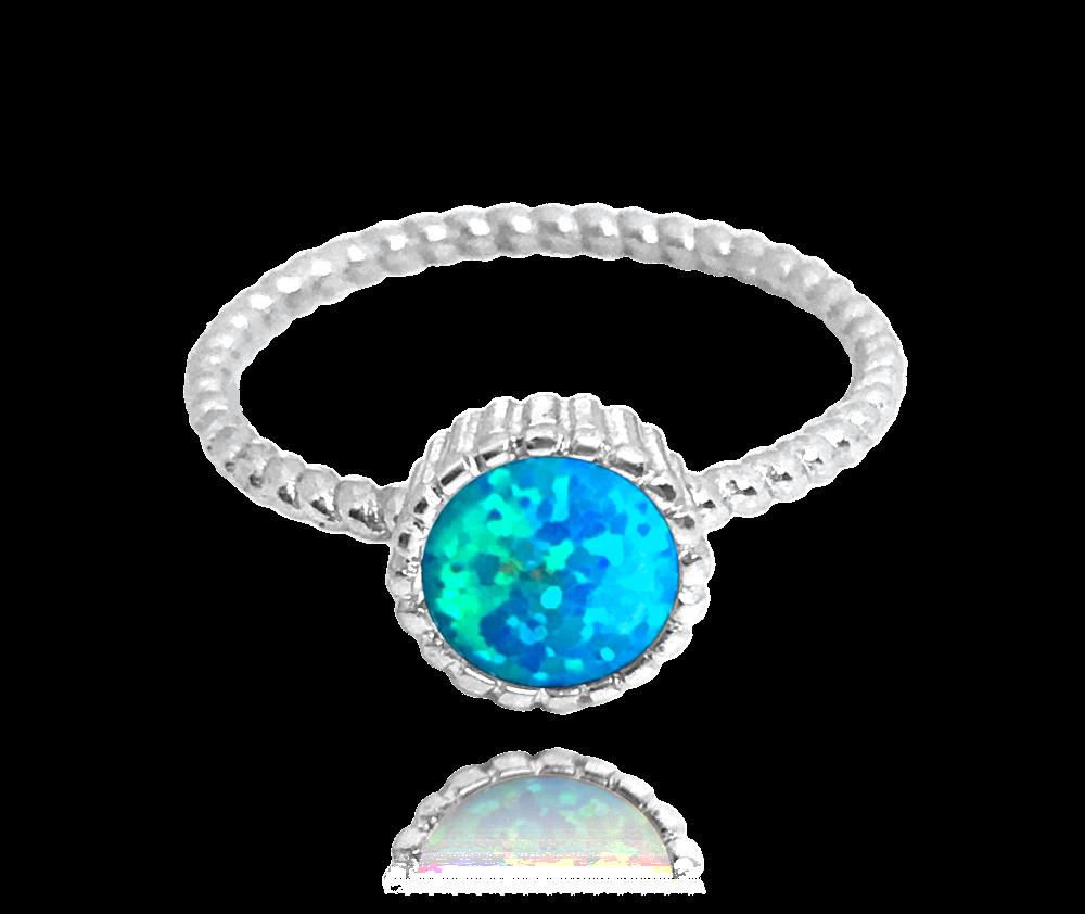 Stříbrný prsten MINET s tyrkysovým opálkem vel. 51