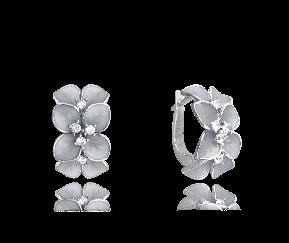 MINET Rozkvetlé stříbrné náušnice MINET FLOWERS se zirkony JMAS5034WE00
